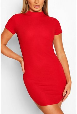 Short Sleeve Bodycon Mini Dress, Red