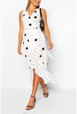 Polka Dot Bodycon Midi Dress, Cream