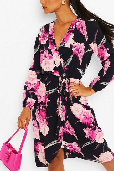 Navy Floral Bodycon Midi Dress