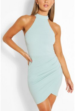 Duck egg High Neck Bodycon Mini Dress