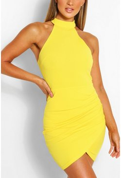 Yellow High Neck Bodycon Mini Dress