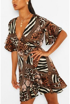 Animal Print Skater Dress, Multi