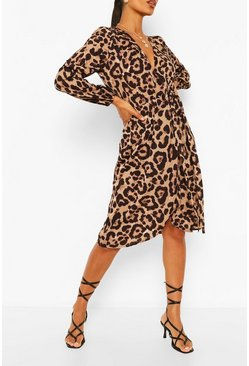 Leopard Print Bodycon Midi Dress, Multi