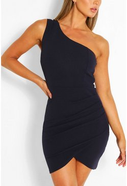 Navy One Shoulder Bodycon Mini Dress