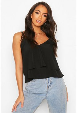Strappy Double Cami Top, Black