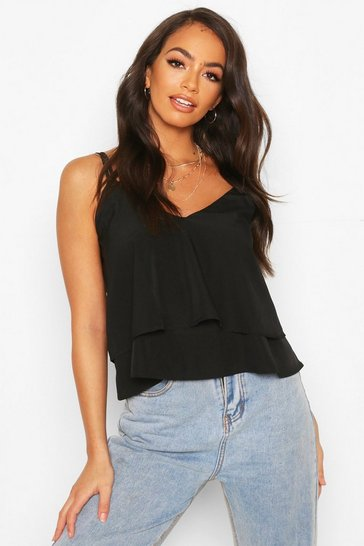Black Strappy Double Cami Top