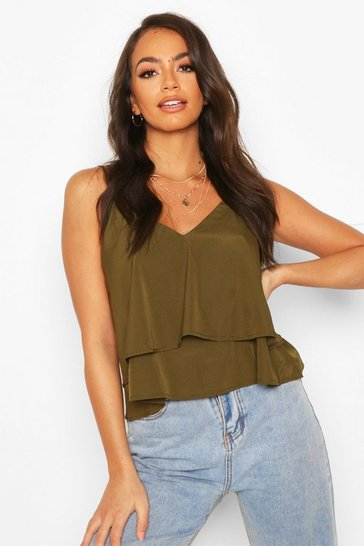 Khaki Strappy Double Cami Top