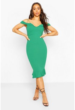 Jade Off Shoulder Frill Hem Midi Dress
