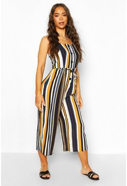 Navy Striped Cullotte Jumpsuit