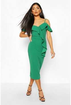 Green Ruffle Cold Shoulder Midi Dress
