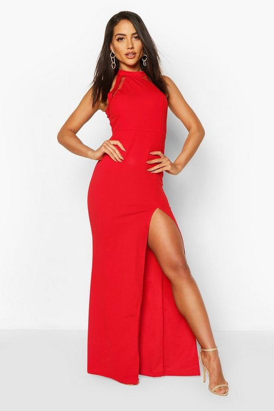 Red High Neck Maxi Dress