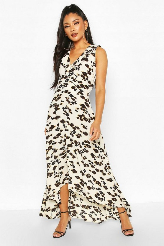 Cream Leopard Print Maxi Dress