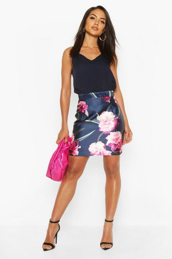 Navy Contrast Floral Mini Dress
