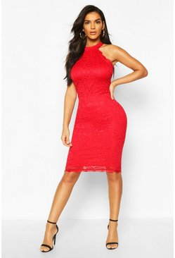 Red Lace Detail High Neck Midi Dress