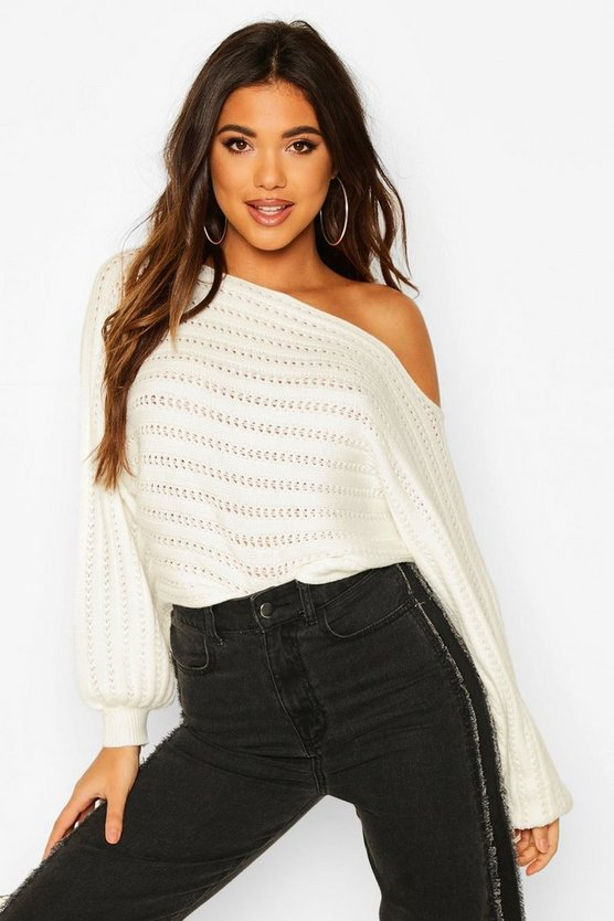 White Off Shoulder Balloon Sleeve Jumper