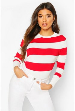 White Stripe Knit Sweater