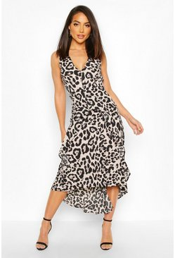 Womens Multi Animal Print Midi Dress