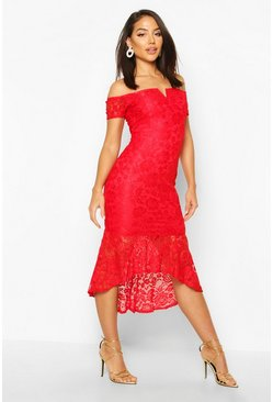 Womens Red Lace Bardot Fishtail Midi
