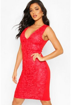 Womens Red Lace Midi Dress