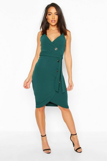Womens Teal Wrap Button Midi Dress