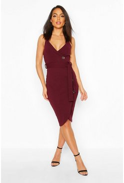 Plum Wrap Button Midi Dress