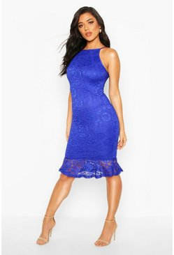 Womens Blue Lace Midi Dress