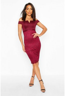 Womens Plum Bardot Midi Dress