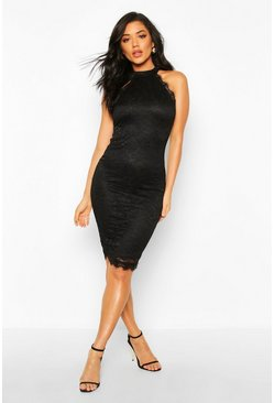 Womens Black Lace Top Midi Dress