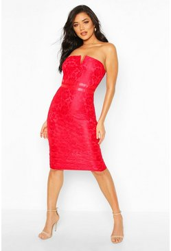 Womens Red Lace Bandeau Midi Dress