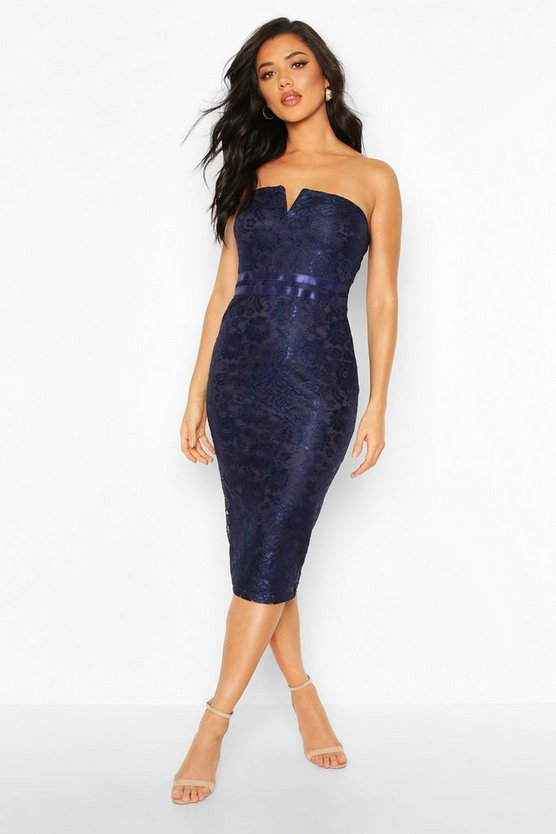 Navy Lace Bandeau Midi Dress