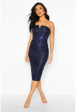 Womens Navy Lace Bandeau Midi Dress