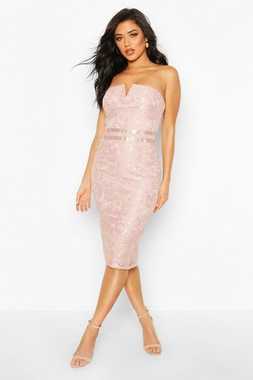 Womens Mushroom Lace Bardot Midi Dress