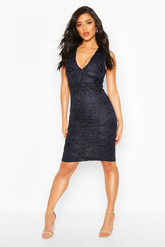 Plunge Midi Dress