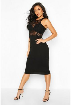 Womens Black Lace Insert Midi Dress