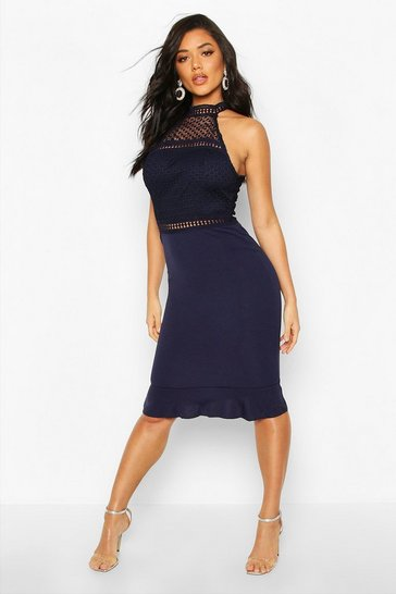Womens Navy Lace Insert Midi Dress