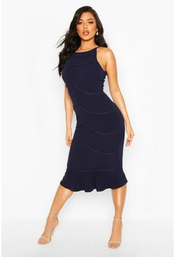 Womens Navy Fishtail Midi Dress