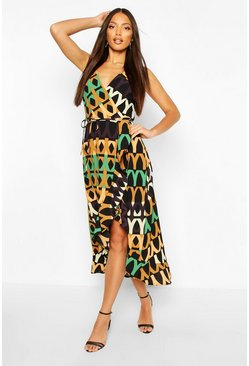 Multi Wrap Printed Midi Dress