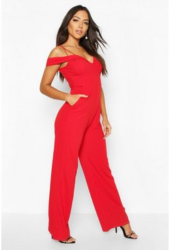 Womens Red Sweetheart Strappy Cold Shoulder Jumpsuit
