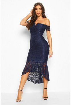 Womens Navy Lace Bardot Fishtail Midi