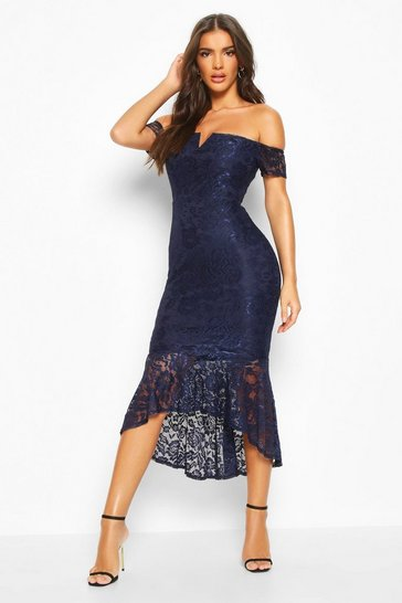Navy Lace Bardot Fishtail Midi
