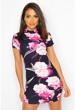 Womens Navy Floral Mini Dress