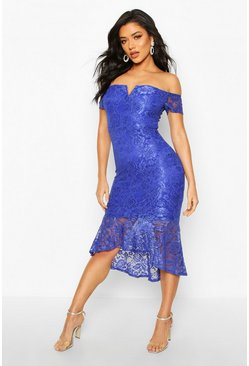 Womens Blue Lace Bardot Fishtail Midi