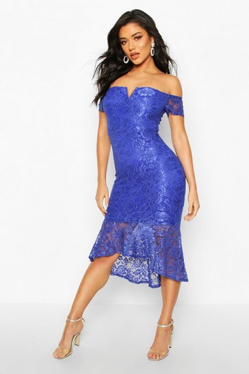 Blue Lace Bardot Fishtail Midi
