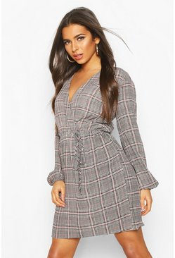 Womens Multi Checked Wrap Dress