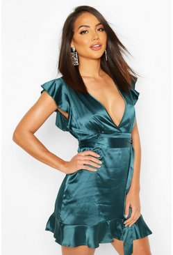 Womens Teal Frill Satin Skater Dress