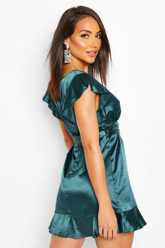 Frill Satin Skater Dress