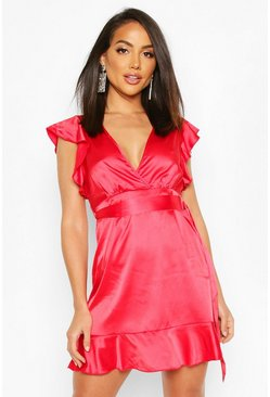 Womens Red Frill Satin Skater Dress