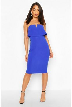 Womens Blue Bandeau Midi Dress