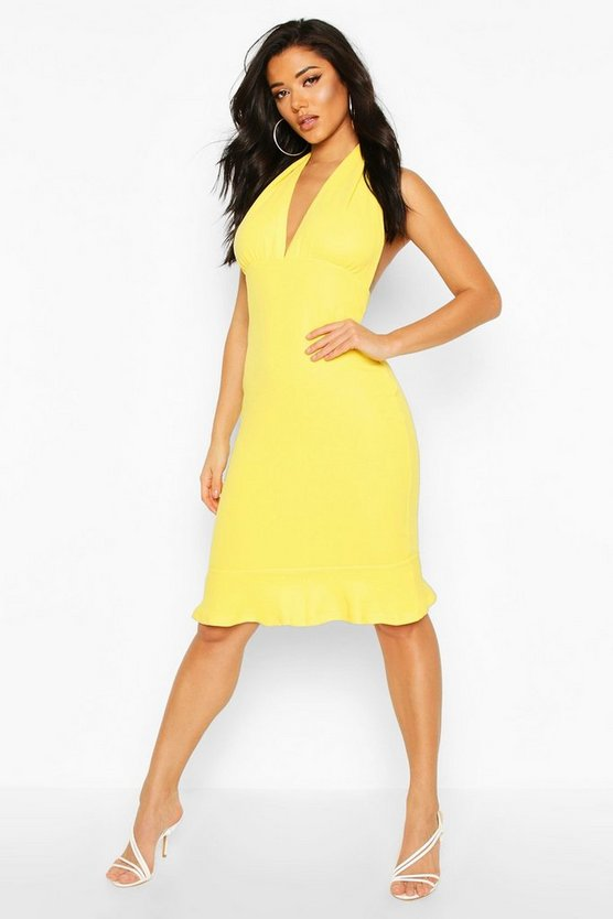 Womens Yellow Plunge Fishtail Midi