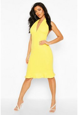 Yellow Plunge Fishtail Midi